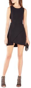 BCBGMAXAZRIA Open Fit And Flare Asymmetrical Layering High Neck Dress