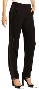 Halston Chic Detail Night Out Comfortable Classic Straight Pants Black