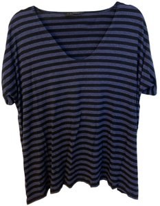 Hatch Maternity T Shirt Black and heather blue stripe