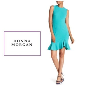 Donna Morgan Sea Sheath Ruffle Hem Party Sleeveless Dress