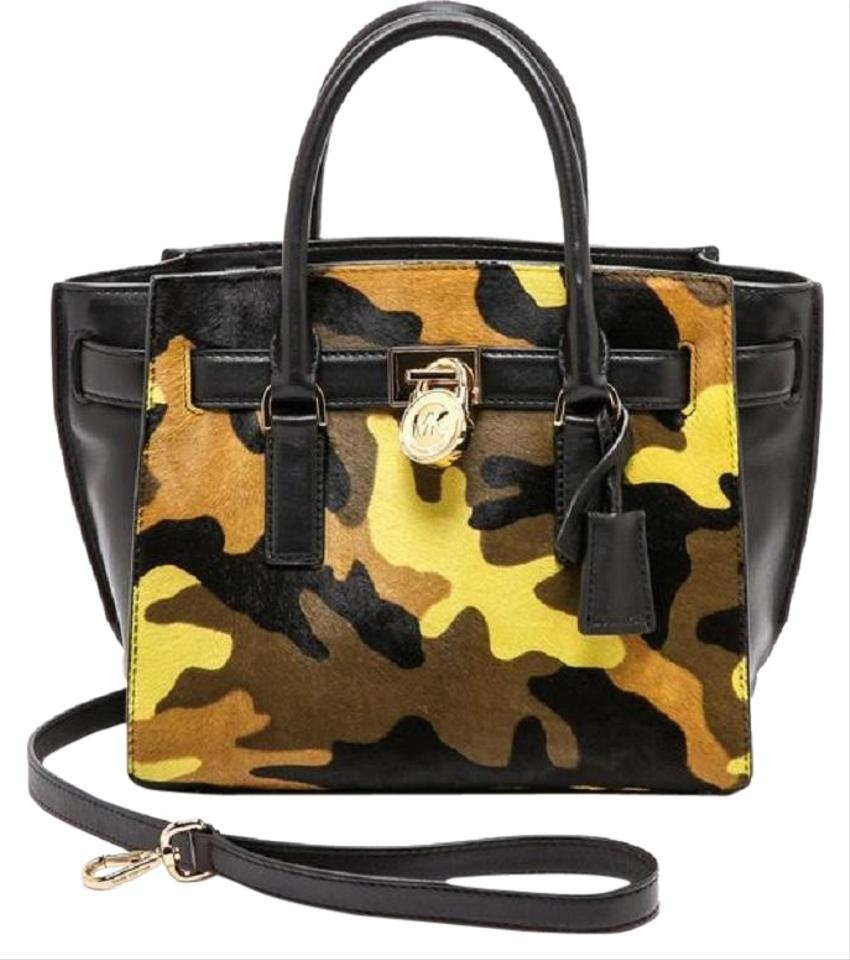 5e10afc9d24992 Michael Kors Leather Gold Haircalf Satchel in Camouflage Acid Lemon Yellow  Black Image 0 ...