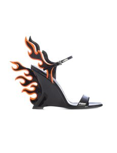 Prada F0o5m Black Orange Fluo Sandals