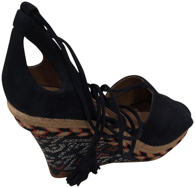 Item - Navy Blue Patterned Wedges Size US 8 Regular (M, B)