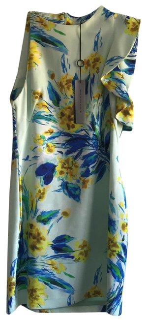 Item - Blue Combo Jersey Pabla Sleeveless Floral Cocktail Short Night Out Dress Size 12 (L)