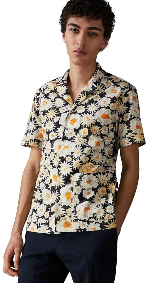 6bf0647c Burberry Blue/White/Yellow Men's Xxl Short-sleeve Daisy Print Cotton  Utility Shirt Button-down Top