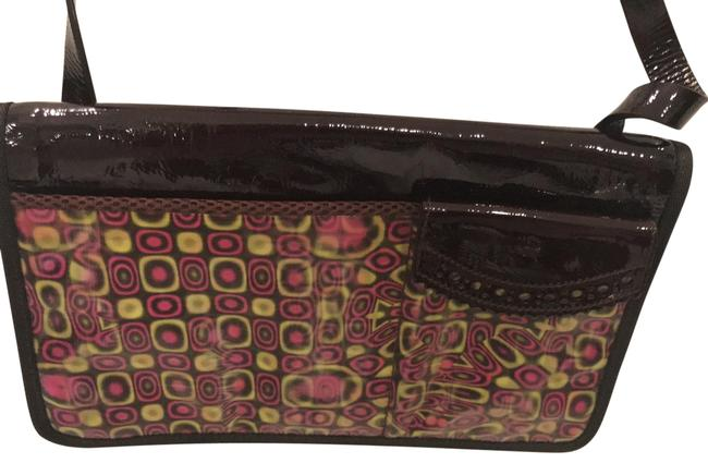 Item - Deep with Irredescent Pattern On Front Burgundy Plus Pink / Yellow Design Shoulder Bag