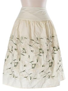 Anthropologie Floral Embroidered Skirt Ivory
