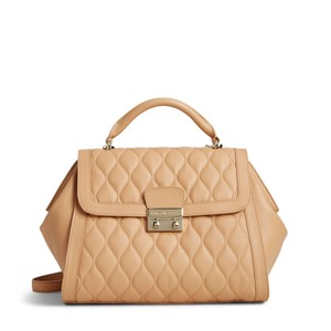 Vera Bradley Leather Quilted Satchel in Nude