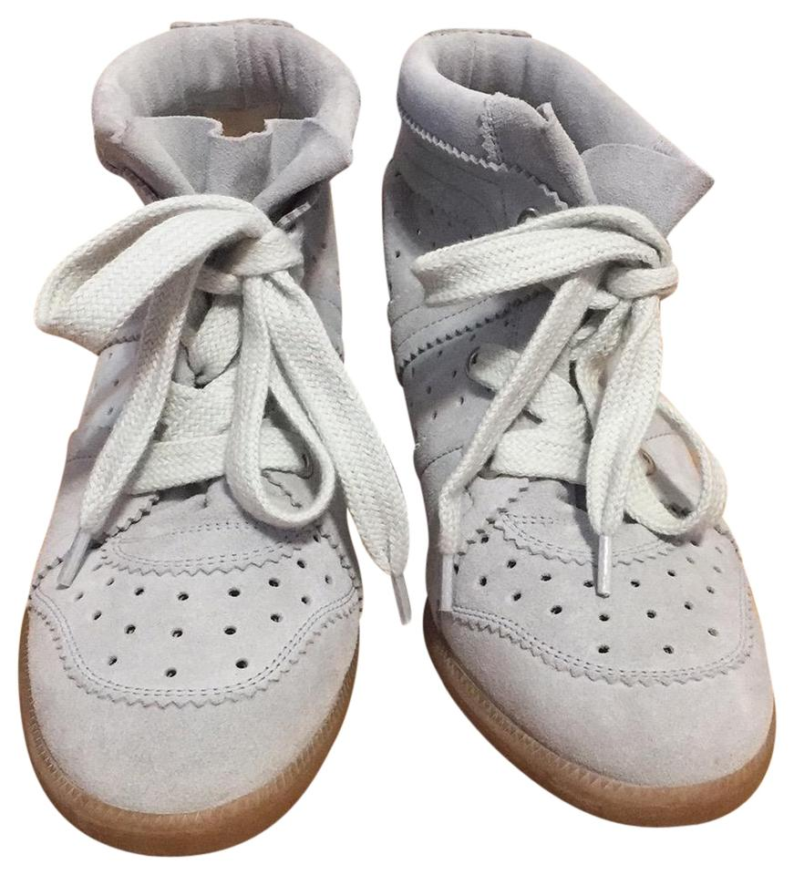 cf2d7595608 Isabel Marant Baby Blue Bobby Suede Sneakers Wedges Size US 8 ...