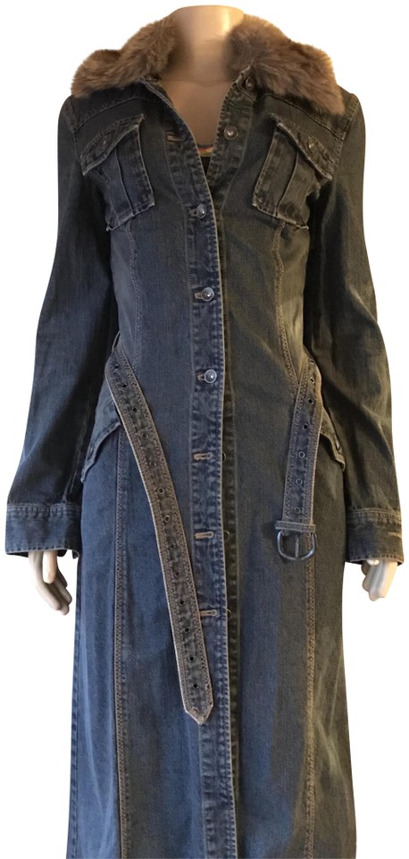 dafac4d0cf4 DKNY Blue Jeans Vintage Removable Faux Fur Collar Belt Denim Jacket 90s Coat