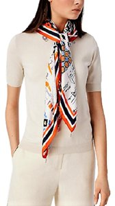 Tory Burch Silk Scrapbook Square Scarf with Fringe