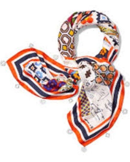 Tory Burch Silk Scrapbook Square Scarf with Fringe Image 3