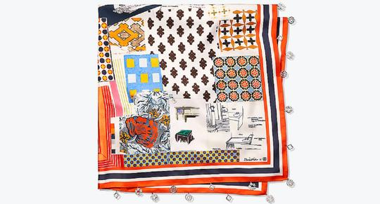 Tory Burch Silk Scrapbook Square Scarf with Fringe Image 1