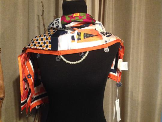 Tory Burch Silk Scrapbook Square Scarf with Fringe Image 2