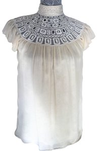 Catherine Malandrino Silk Embroidered Lace Night Out Sheer Top Cream