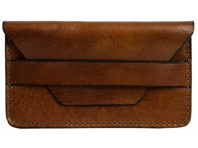 Item - Brown Lucky Jim - Leather Credit Card Holder Business Card Case Wallet