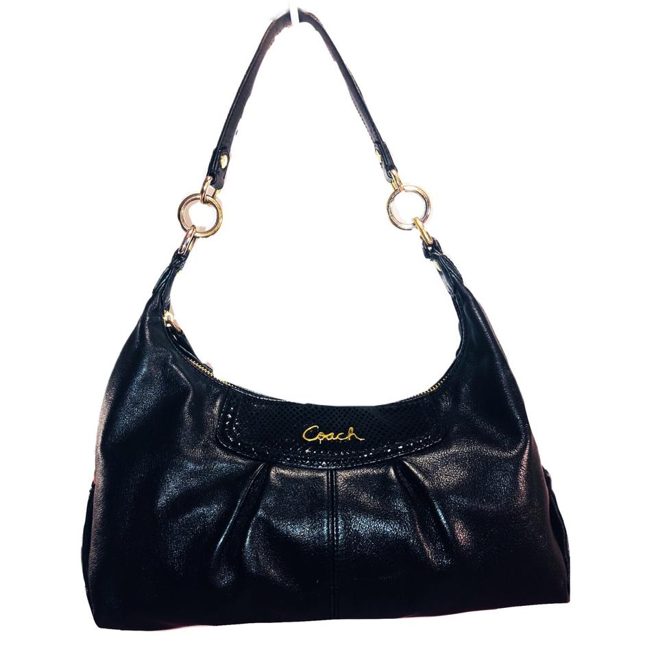 0cf77a1e023f1 Coach Ashley F19761 Black Leather   Python Embossed Leather Shoulder Bag  80% off retail