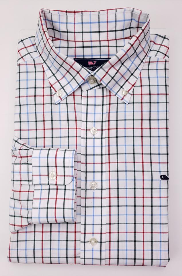 7b4fa5107c97 Vineyard Vines White Checked Multicolor Whale Large Blue Green R Shirt