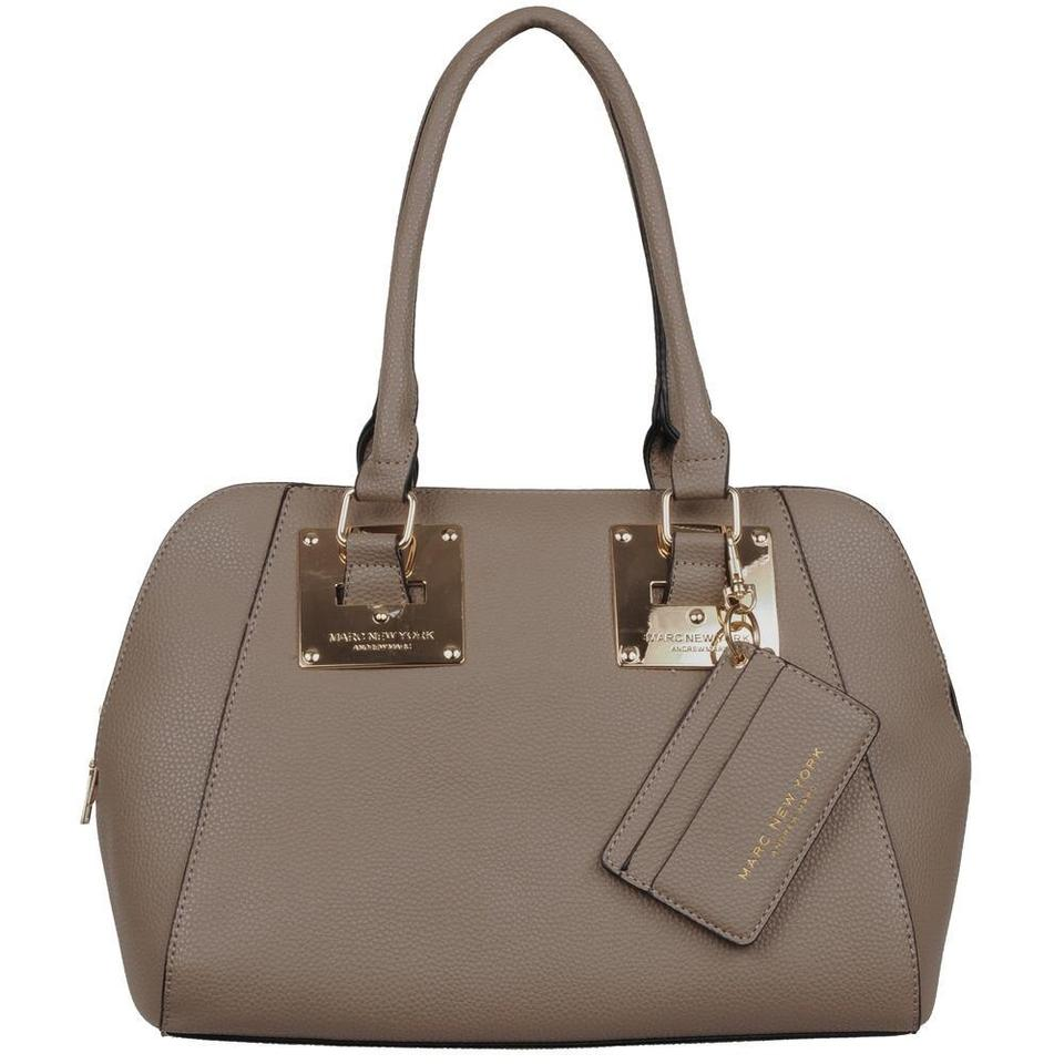 Andrew Marc New York Nora Winged Taupe Faux Leather Satchel 22 Off Retail
