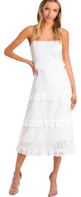 Item - White Strapless Lace & Eyelet Mid-length Cocktail Dress Size 2 (XS)