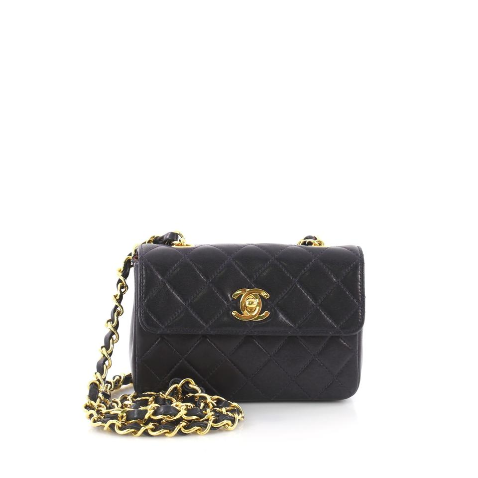 b5c33b8ad0d2 Chanel Classic Flap Vintage Cc Chain Quilted Extra Mini Navy Blue ...