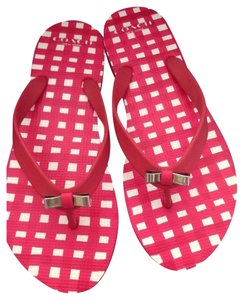 Coach Poppy Gingham Nib Nwt New Summer Beach Travel Flats Flip Flops 7 M New Box Check Rubber Pink Sandals
