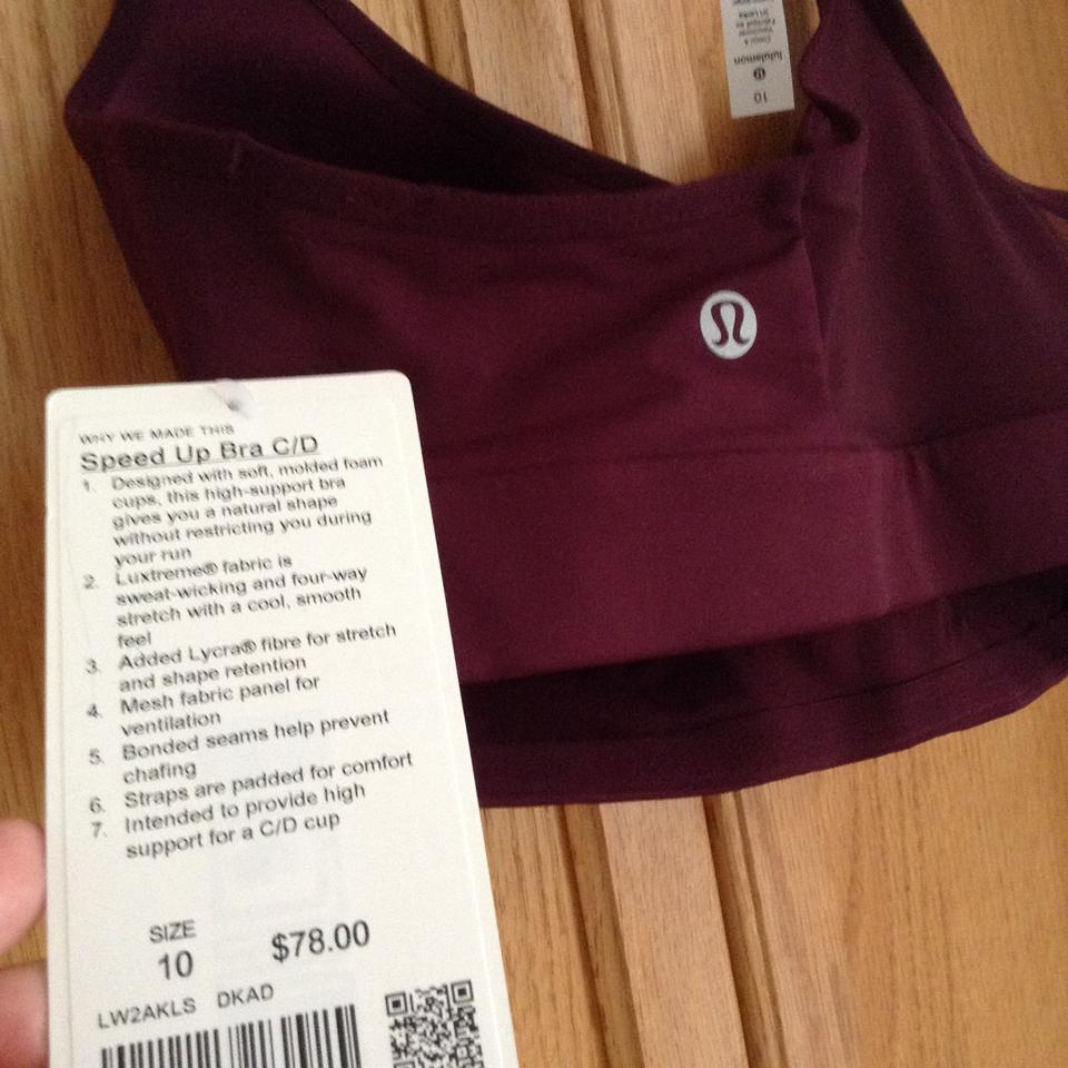 d83aa72fa1 Lululemon Maroon Speed Up Activewear Sports Bra Size 10 (M