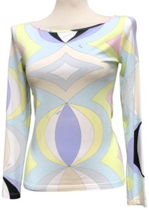 Emilio Pucci 92% Rayon 8% Elastane Fitted Top Multicolored