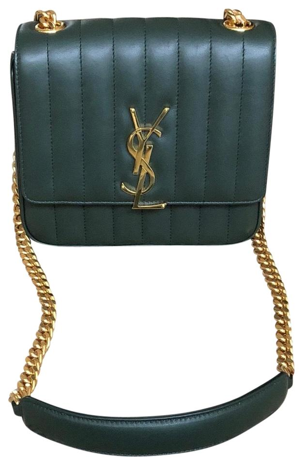 7a18d6301d Saint Laurent Medium Ysl Vicky Monogram Chain In Green Lambskin Leather  Cross Body Bag