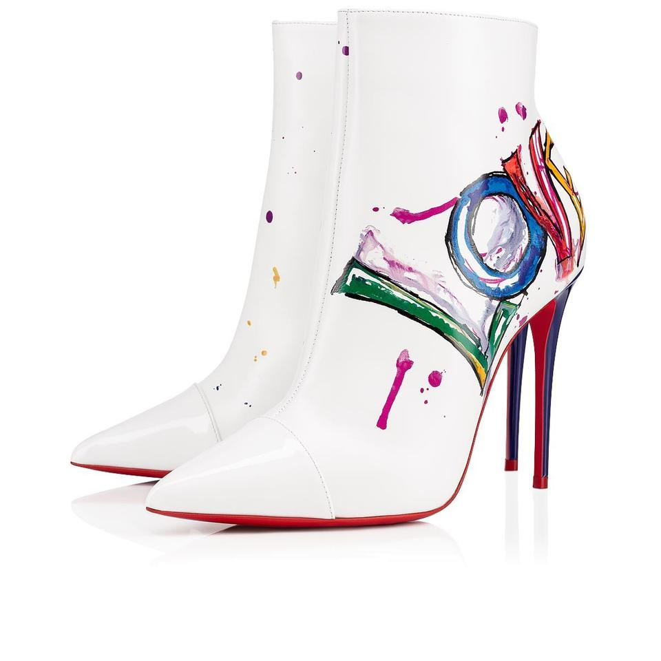 new york 97fe4 66170 Christian Louboutin White In Love 100 Red Purple Patent Heel Zip Ankle  Stiletto Boots/Booties Size EU 40 (Approx. US 10) Regular (M, B)