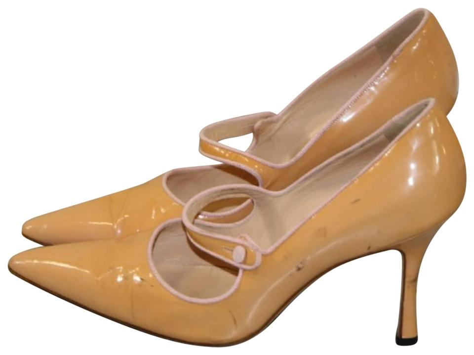 Manolo Blahnik Cream Campari Patent Leather Mary Jane Pumps Size US ... b7abaa206