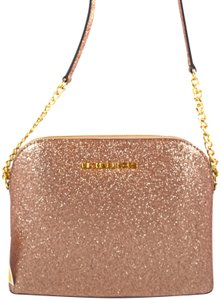 3702f6ee952e87 Michael Kors Cindy Large Glitter Rose Gold Leather Messenger Bag ...