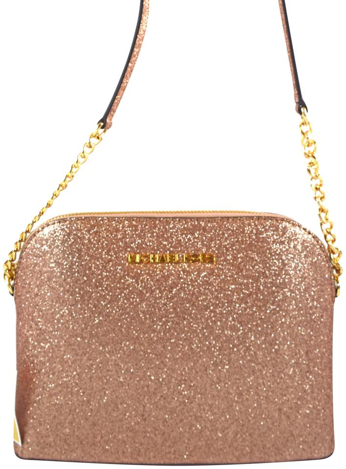d21c84b6a4f0a Michael Kors Cindy Large Glitter Rose Gold Leather Messenger Bag ...