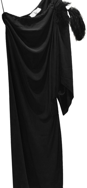 Item - Dark Green Black 0 One Shoulder Feather Mid-length Night Out Dress Size 0 (XS)