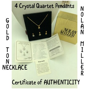 "Nolan Miller Nolan Miller 4 Crystal Quartet Pendants & Gold Tone Chain Necklace 17"" Long"