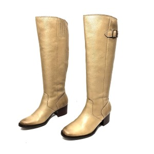 Matisse Leather Knee High Brass Hardware Buckles Light Tan Boots