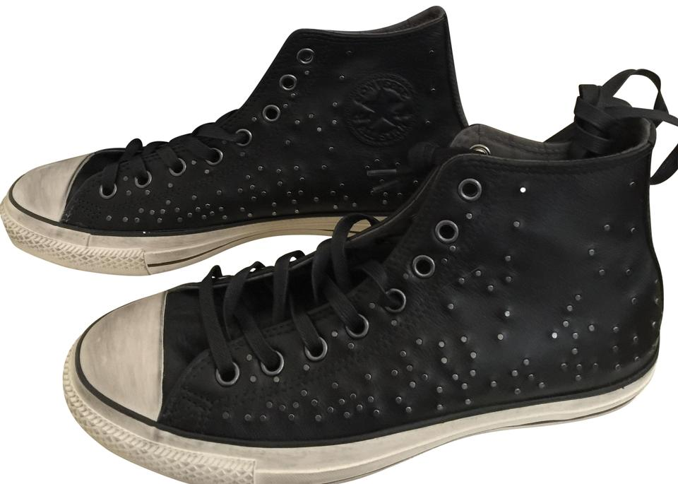 Black Converse Mens Womens Studded Leather Sneakers Sneakers Size US ... b24dd2663