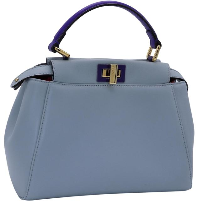 Item - Mini Handbag Peekaboo Sky Blue/Burgundy/Purple Lambskin Leather Cross Body Bag