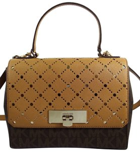 2c2660c19ebd Michael Kors Leather Brown/Pale 191262027246 Satchel in Brown/Pale Gold
