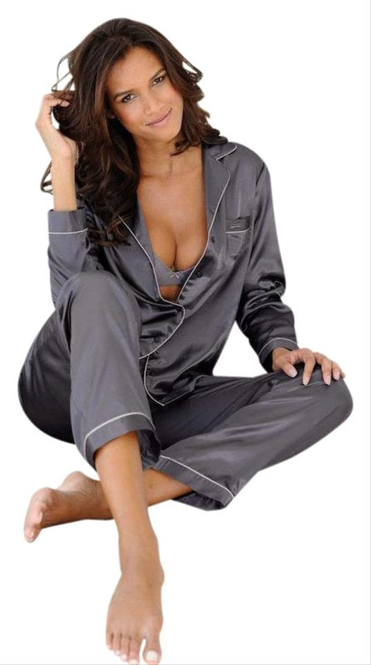 a9450b1ffc Victoria s Secret Gray The Afterhours Satin Pajama Set Button-down ...