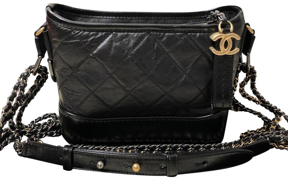 2c9685b72e6e Chanel Gabrielle Hobo Quilted Small Black Calfskin Leather Cross ...