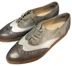 Paul Green silver and white Flats