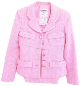 Chanel RARE CHANEL 95C FANTASY TWEED PINK SUIT FR 34 JACKET SKIRT CC MIRROR