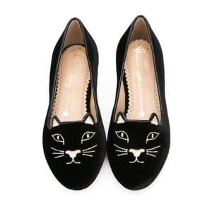Charlotte Olympia Kid Kitty Black Flats