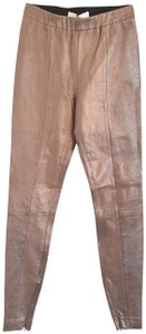 Robert Rodriguez Metallic Leather Pants Us Size 2 GOLD Leggings