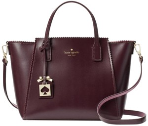 Kate Spade Convertible Smooth Leather Plum Burgundy Satchel in Wine