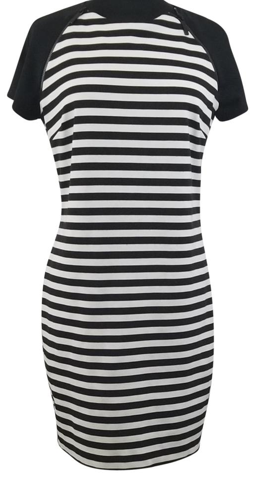 9bbf43ad35ba MICHAEL Michael Kors Black and White Striped Mid-length Night Out ...