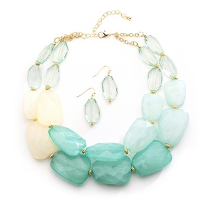 Mint Pastels Chunky Statement Necklace & Earrings