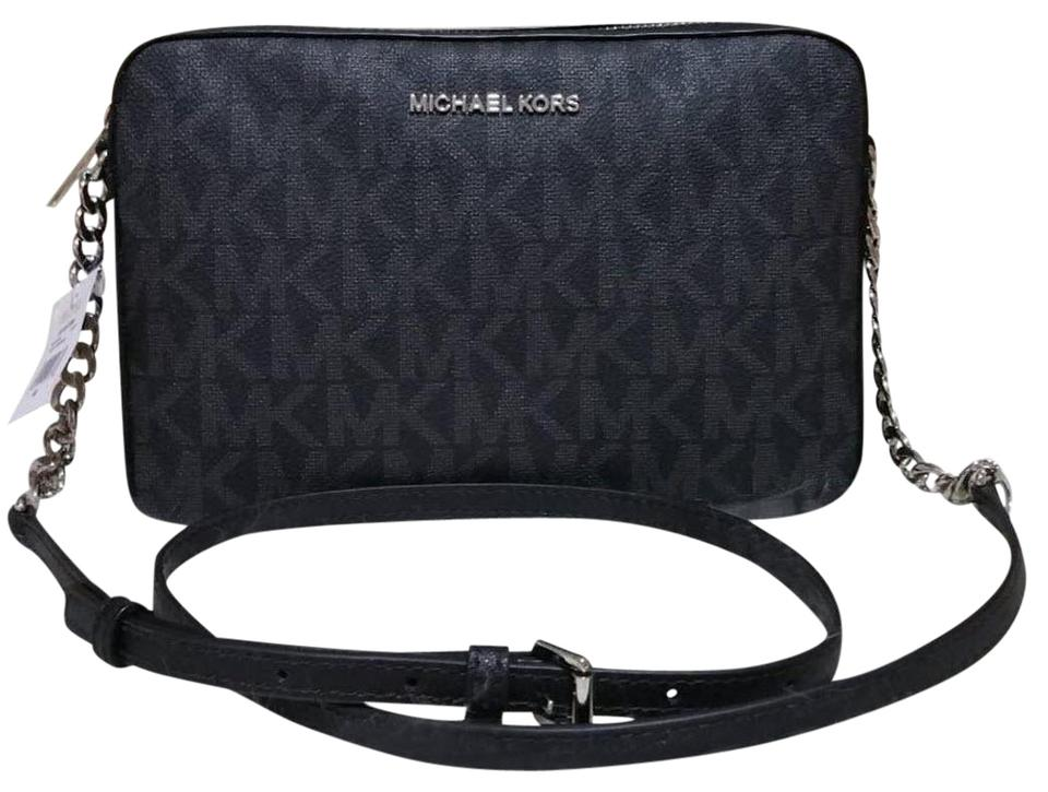 77eabdbf6e35 Michael Kors Jet Set Travel Large East West Black Canvas Cross Body ...
