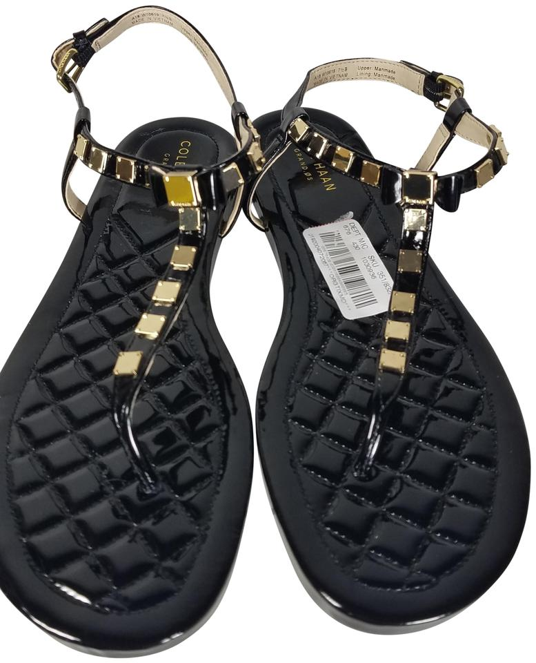 7ca3ad79e45cc Cole Haan Black Women s Tali Mini Bow Studded Flat Sandals Size US 7 ...